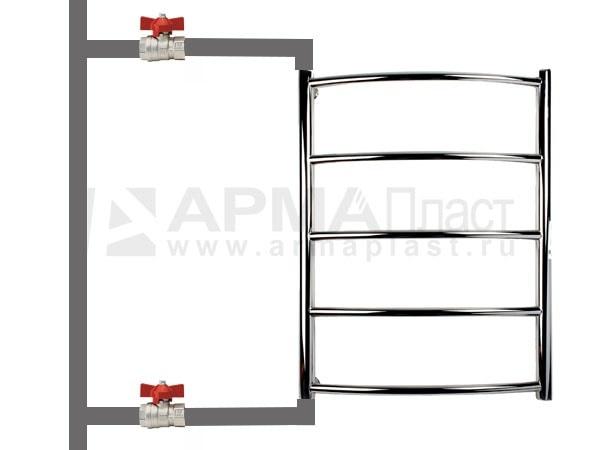 Боковое подключение полотенцесушителя. Схема 1