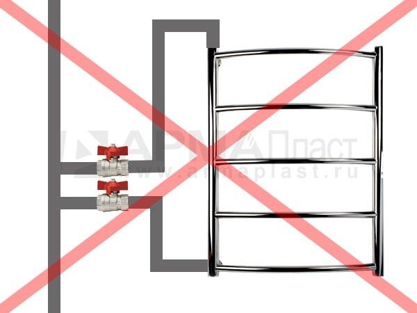 Ошибка 3. Верхняя подводка и нижняя подводка имеет петлю